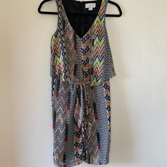 Jessica Simpson knee length dress, tie front. V neck. Size 2.